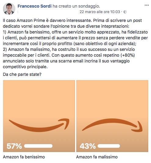 Sondaggio su Amazon Prime